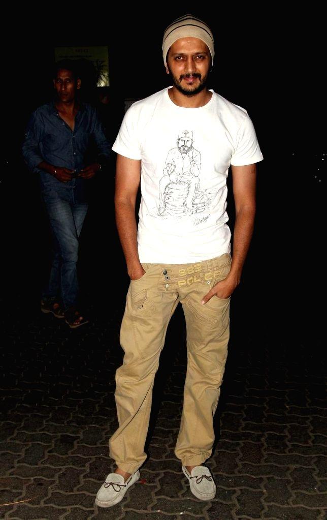 Actor Ritesh Deshmukh at Sidharth Malhotra hosted party for Ek Villain success at his residence in Mumbai on June 28, 2014. - Ritesh Deshmukh