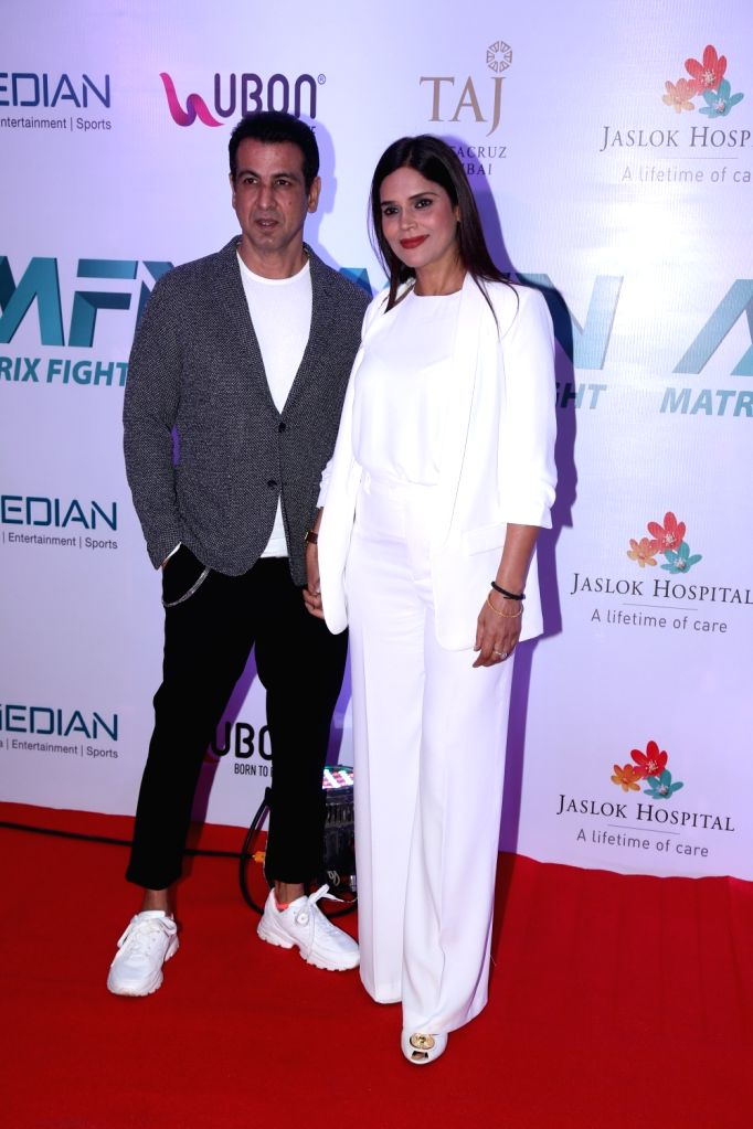 Actor Ronit Roy and his wife Neelam Singh at Matrix Fight Night Red Carpet in Mumbai, on March 12, 2019. - Ronit Roy and Neelam Singh