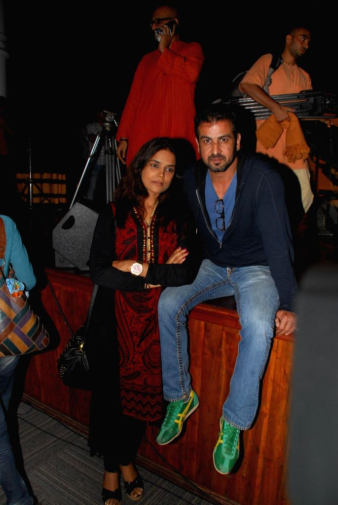 Actor Ronit Roy with his wife Neelam during a function organised for a series of interaction on `In Conversation with the Mystic` in Mumbai on Aug 4, 2014. - Ronit Roy