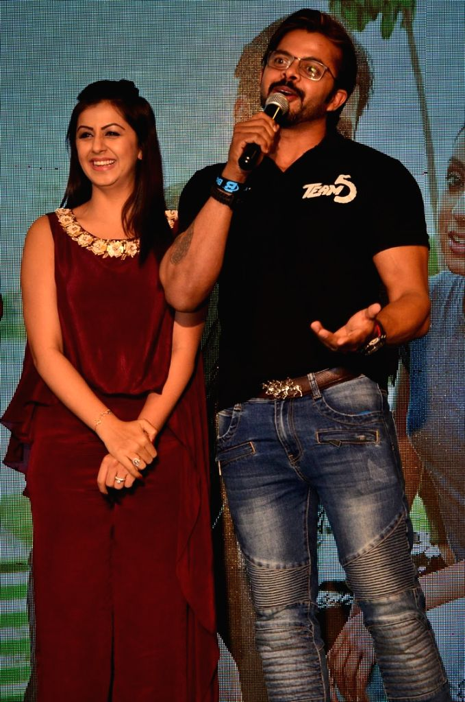 """Actor S. Sreesanth and Nikki Galrani during the trailer launch of their upcoming Malayalam film """"Team 5"""". - S. Sreesanth"""
