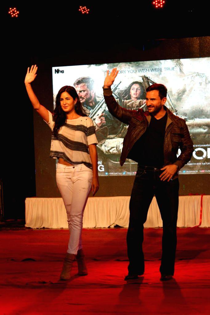 Actor Saif Ali Khan and actress Katrina Kaif during the promotion of film Phantom in Mumbai on August 15, 2015. - Saif Ali Khan and Katrina Kaif