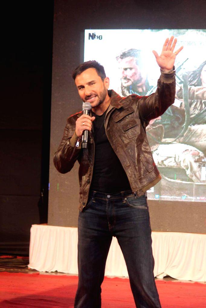 Actor Saif Ali Khan during the promotion of film Phantom in Mumbai on August 15, 2015. - Saif Ali Khan