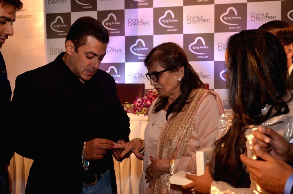 Actor Salman Khan and his mother Salma Khan at the launch of  Being Human Jewellery in New Delhi, on Sept 30, 2016. - Salman Khan and Salma Khan
