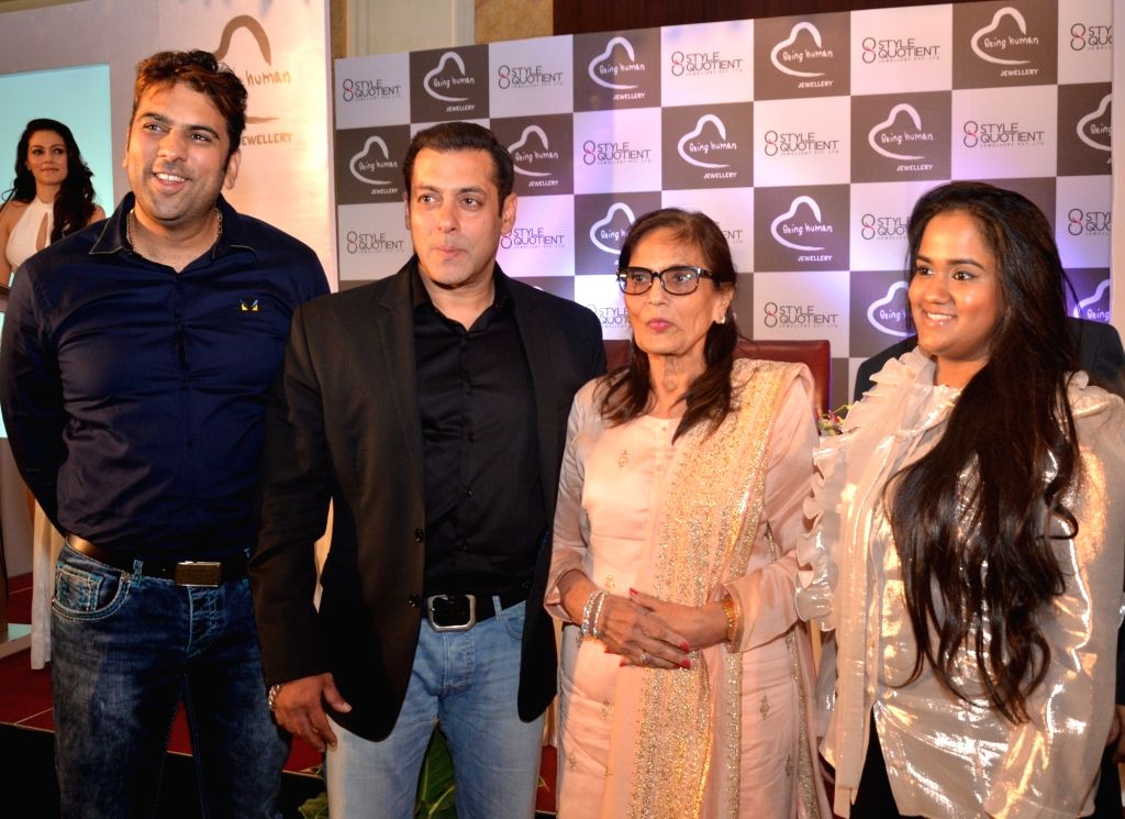 Actor Salman Khan and his sister Arpita Khan Sharma and mother Salma Khan at the launch of  Being Human Jewellery in New Delhi, on Sept 30, 2016. - Salman Khan, Arpita Khan Sharma and Salma Khan