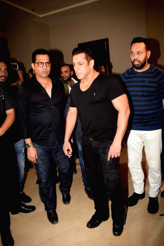 Actor Salman Khan arrives at the red carpet of fashion designer Manish Malhotra's haute couture show, in Mumbai on Aug 1, 2018. - Salman Khan and Manish Malhotra