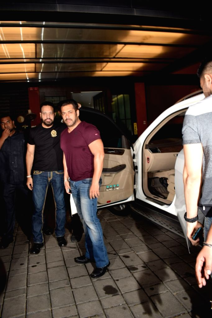 Actor Salman Khan at Arpita Khan's residence for Pre-Diwali celebration in Mumbai on Oct 13, 2017. - Salman Khan and Arpita Khan