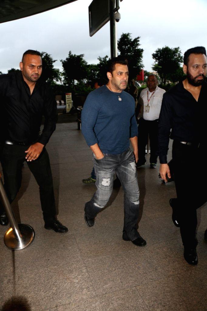 Actor Salman Khan at Chhatrapati Shivaji International Airport in Mumbai, on July 2, 2017. - Salman Khan