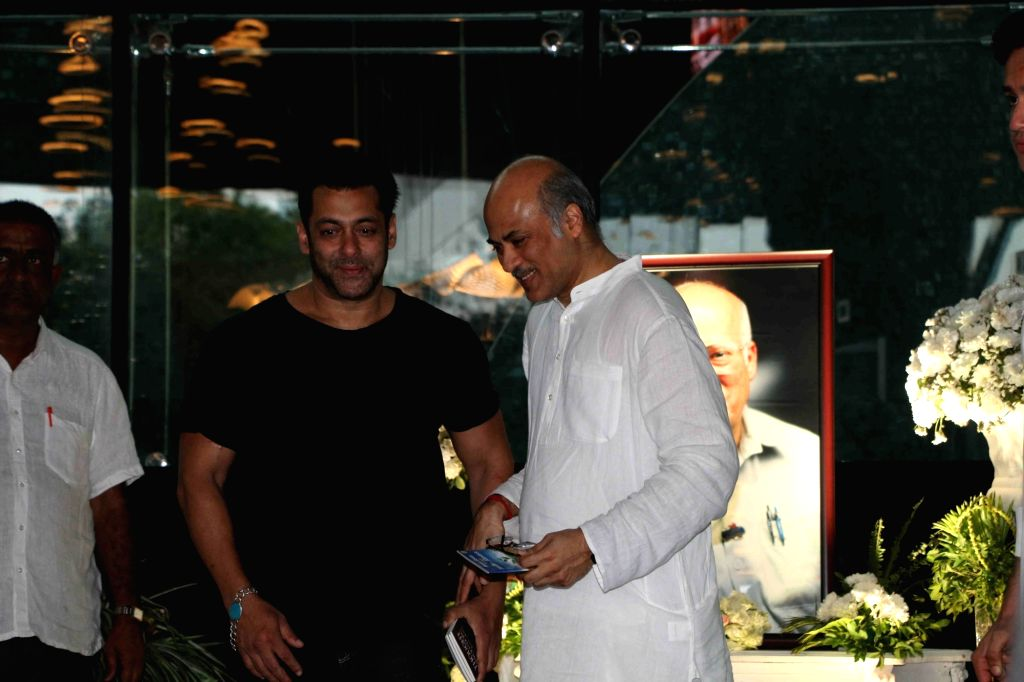 Actor Salman Khan at the prayer meet organised for late producer Raj Kumar Barjatya in Mumbai, on Feb 23, 2019. - Salman Khan and Kumar Barjatya