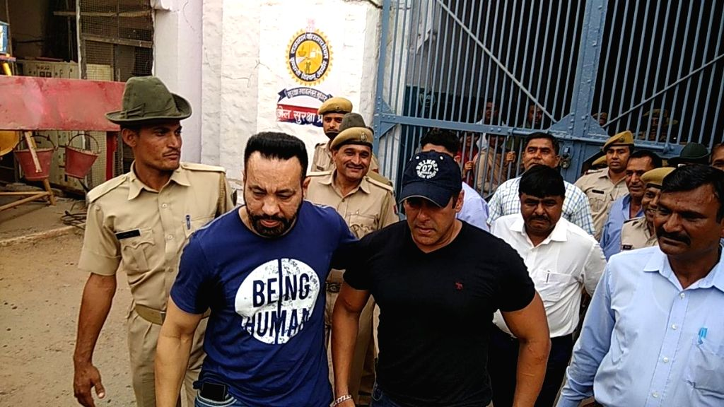 Actor Salman Khan comes out of the Jodhpur Central Jail after he was granted bail by a district and sessions court in the 1998 black buck poaching case, on April 7, 2018. The actor spent two ... - Salman Khan