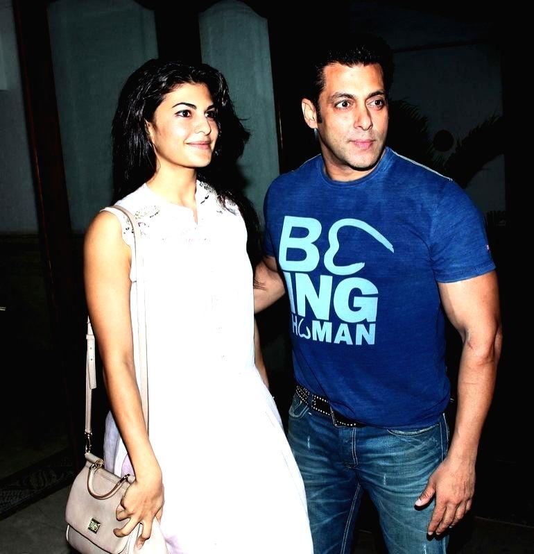 Actor Salman Khan, Jaqueline Fernandez at Sidharth Malhotra hosted party for Ek Villain success at his residence in Mumbai on June 28, 2014. - Salman Khan