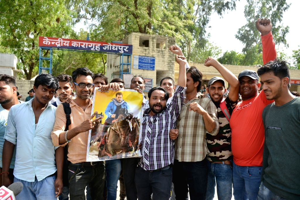 Actor Salman Khan's fans celebrate, after the actor was granted bail by a district and sessions court in the 1998 blackbuck poaching case in which he was sentenced to five years in jail on ... - Salman Khan