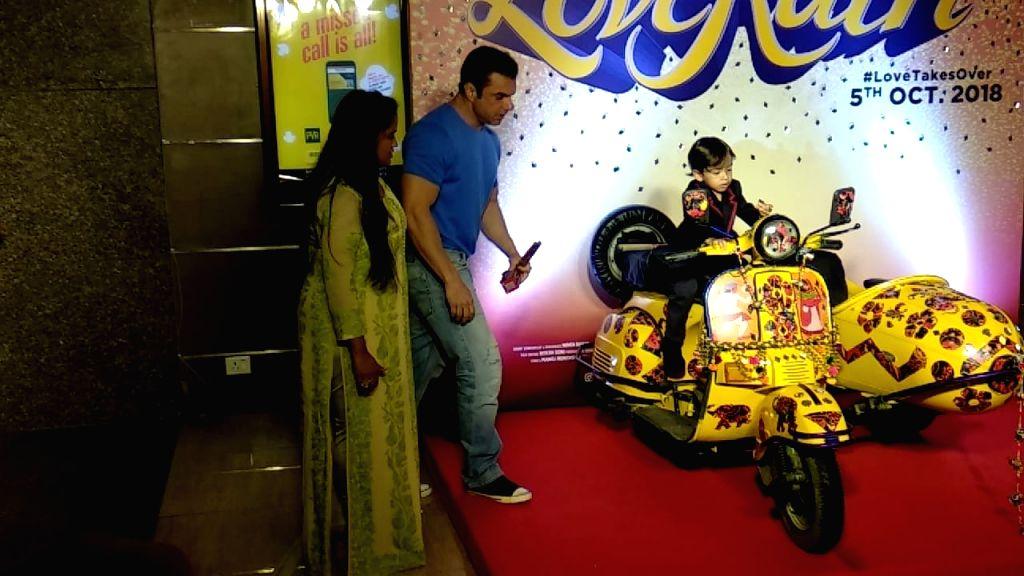 "Actor Salman Khan's sister Arpita Khan Sharma along with her son Ahil and brother Sohail Khan at the trailer launch of upcoming film ""Loveratri"" in Mumbai on Aug 6, 2018. - Salman Khan, Arpita Khan Sharma and Sohail Khan"