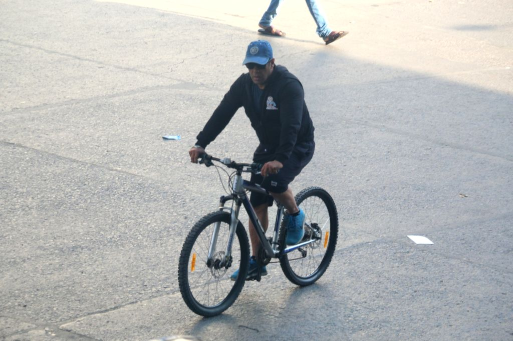 Actor Salman Khan seen cycling in Mumbai's Andheri, on April 24, 2019. - Salman Khan