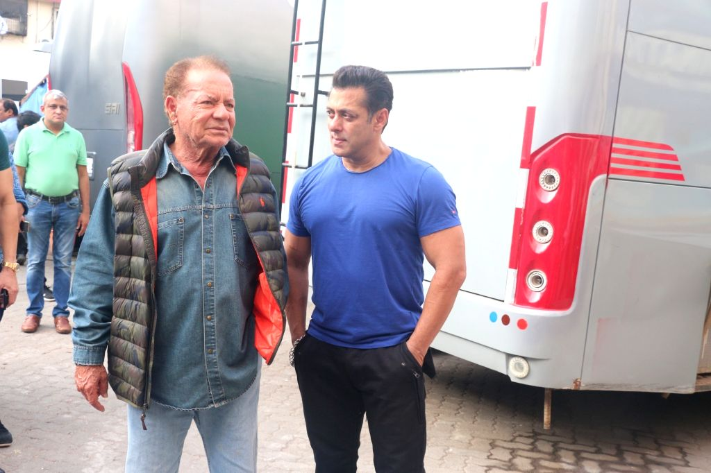 Actor Salman Khan with his father and screenwriter Salim Khan seen outside a film Studio in Mumbai's Bandra, on May 31, 2019. - Salman Khan