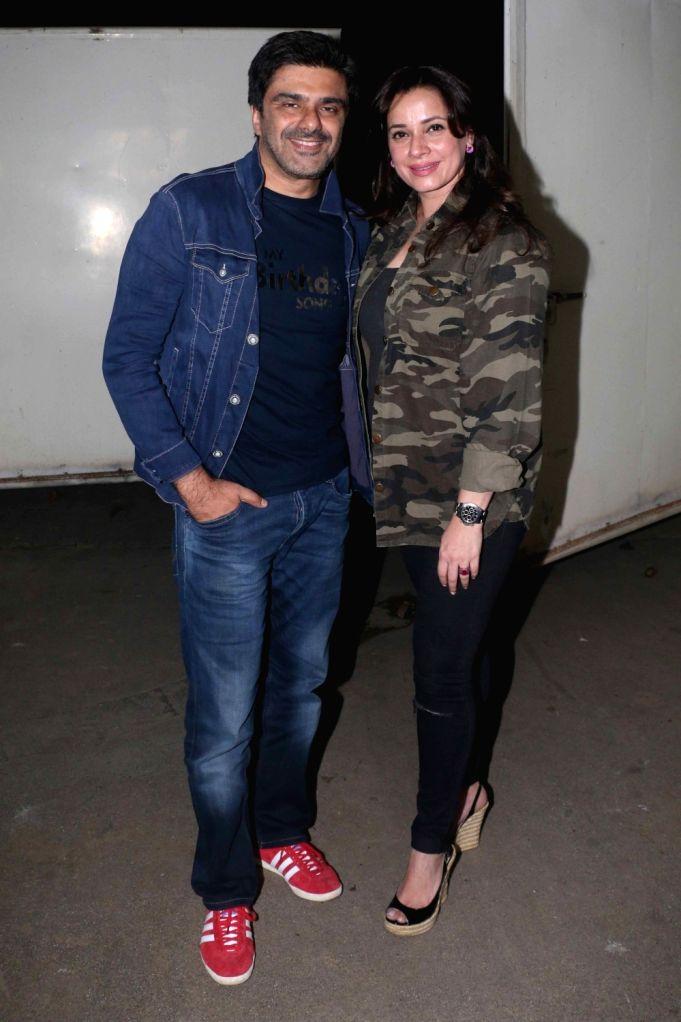 "Actor Samir Soni along with his wife Neelam Kothari at the special screening of upcoming film ""My Birthday Song"" in Mumbai on Jan 16, 2018. - Samir Soni"