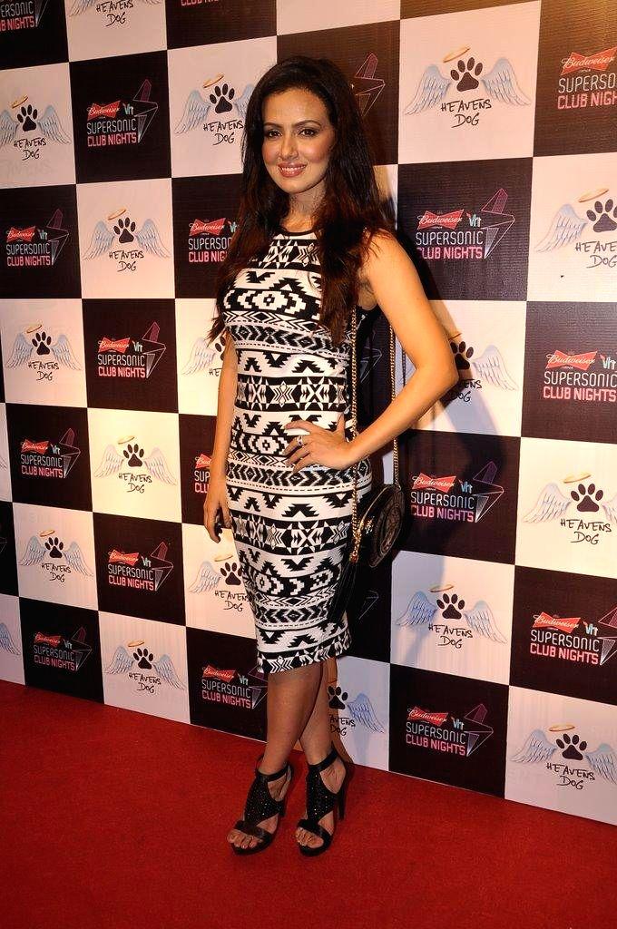 Actor Sana Khan during the launch of restaurant Heavens Dog, in Mumbai, on Sept. 5, 2014. - Sana Khan