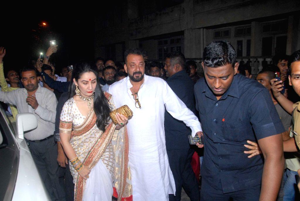 Actor Sanjay Dutt along with his wife Manyata during Aamir Khan's Diwali celebration in Mumbai, on Oct 30, 2016. - Sanjay Dutt and Aamir Khan