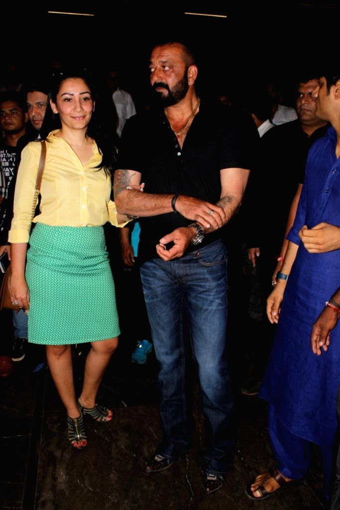 """Actor Sanjay Dutt along with his wife Manyata Dutt during the trailer launch of upcoming film """"Bhoomi"""" in Mumbai on Aug 10, 2017. (Photo: IANS] - Sanjay Dutt and Manyata Dutt"""