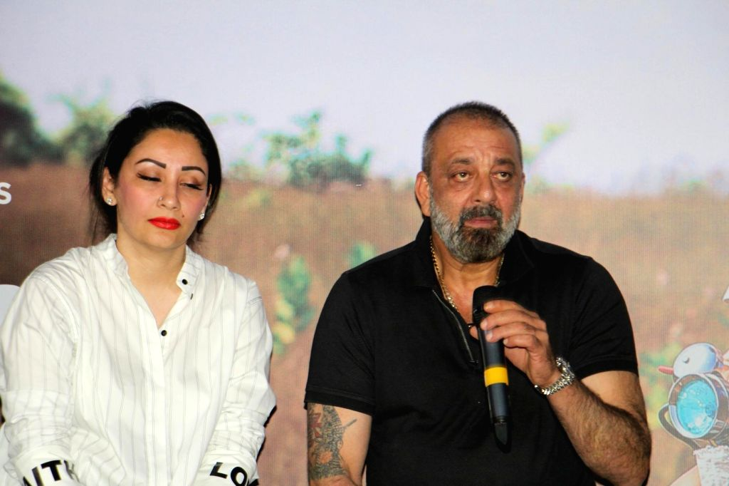 """Actor Sanjay Dutt along with his wife Manyata Dutt at the trailer launch of Marathi Film """"Baba"""" in Mumbai on July 16, 2019. - Sanjay Dutt and Manyata Dutt"""