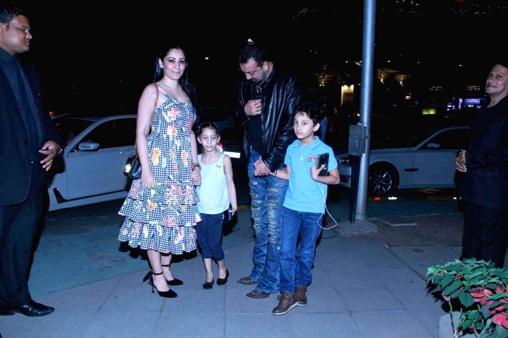 Actor Sanjay Dutt and his wife Maanayta and twins Iqra and Shahraan at a restaurant in Mumbai on Feb 10, 2018. - Sanjay Dutt