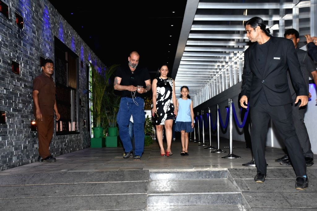 Actor Sanjay Dutt and his wife Manyata Dutt with their daughter Iqra Dutt seen outside a restaurant in Mumbai's Bandra, on May 27, 2019. - Sanjay Dutt, Manyata Dutt and Iqra Dutt