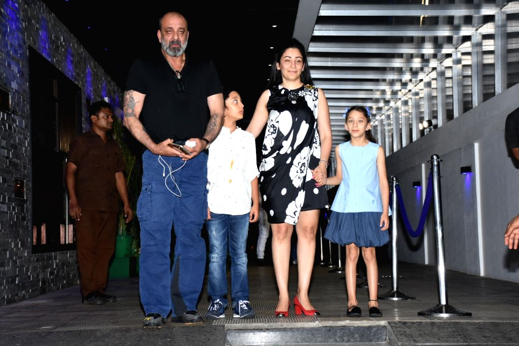 Actor Sanjay Dutt and his wife Manyata Dutt with their children Iqra Dutt and Shahraan Dutt seen outside a restaurant in Mumbai's Bandra, on May 27, 2019. - Sanjay Dutt, Manyata Dutt, Iqra Dutt and Shahraan Dutt