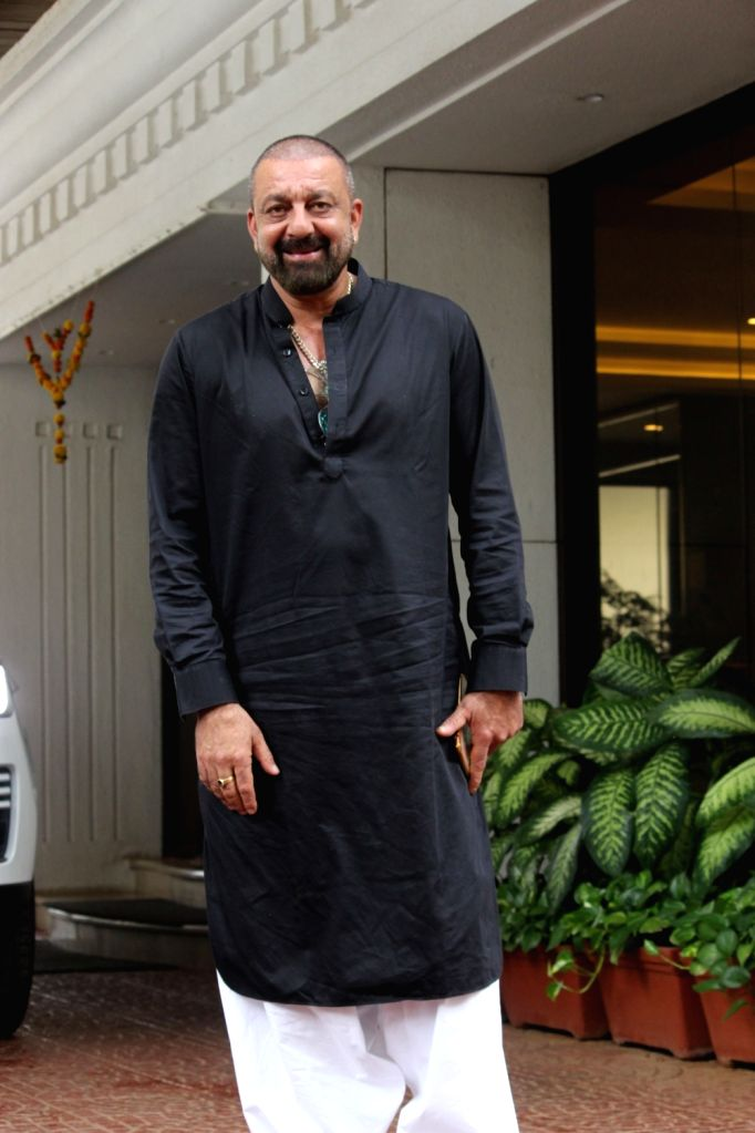 Actor Sanjay Dutt seen at film producer Anand Pandit's residence in Mumbai on June 13, 2019. - Sanjay Dutt