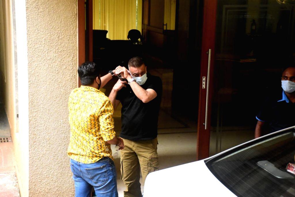 Actor Sanjay Dutt seen outside his residence in Bandra, Mumbai on Oct 14, 2020. - Sanjay Dutt