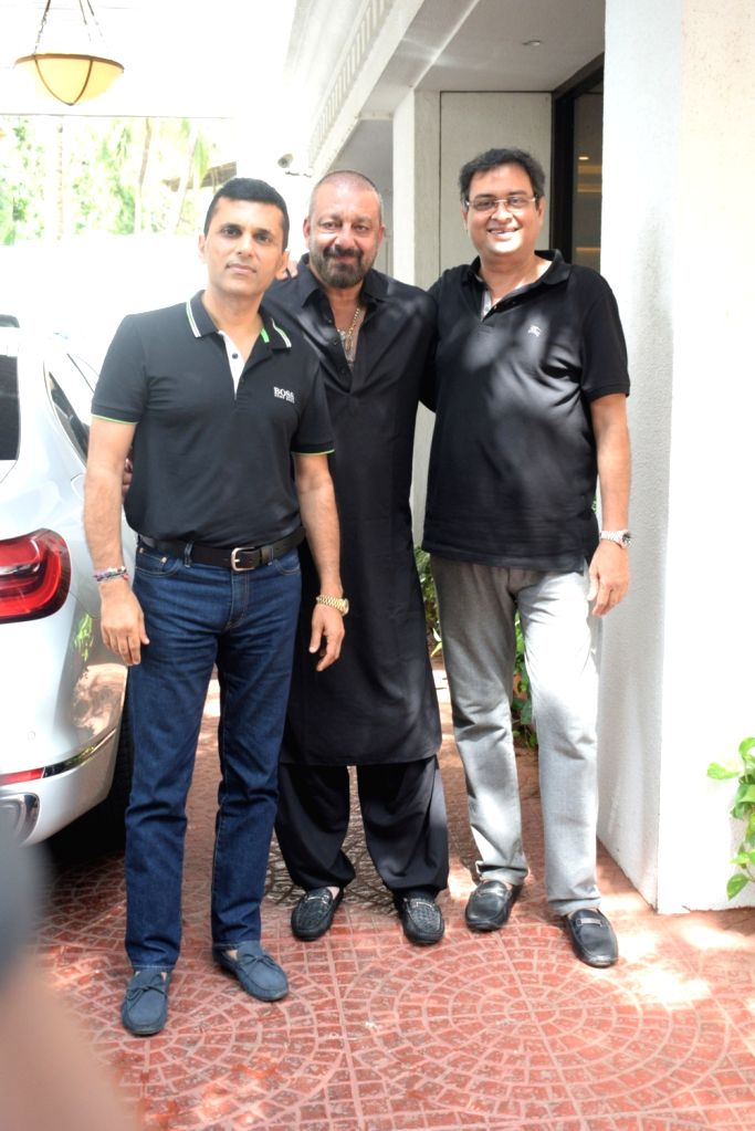 Actor Sanjay Dutt with producer Anand Pandit at his residence at Juhu, Mumbai on June 15, 2019. - Sanjay Dutt