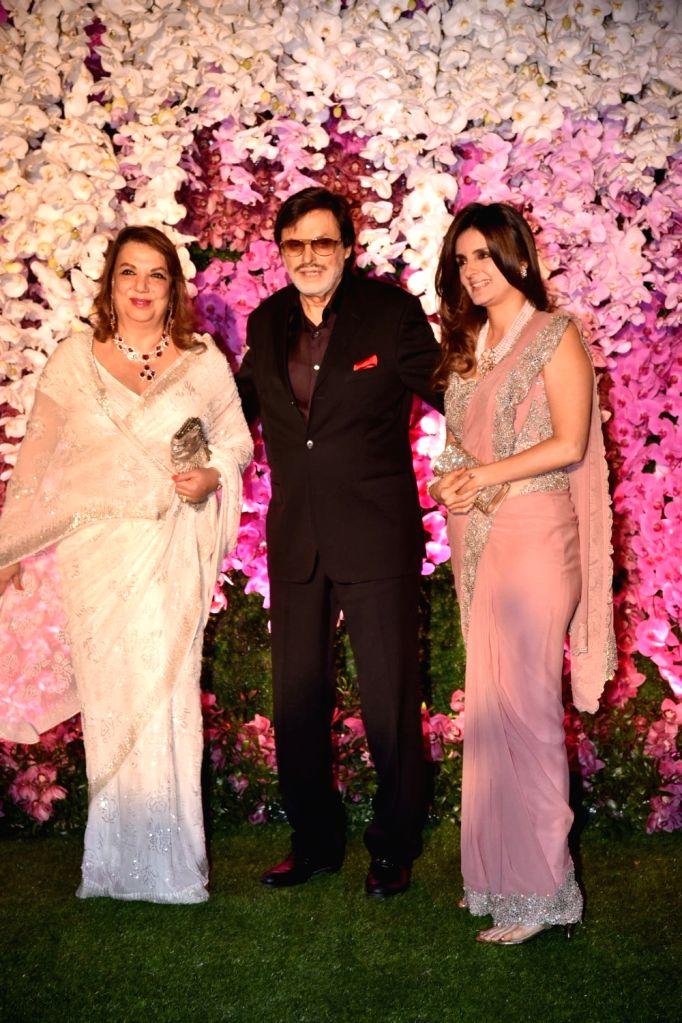 Actor Sanjay Khan at the wedding reception of Akash Ambani and Shloka Mehta in Mumbai on March 10, 2019. - Sanjay Khan, Akash Ambani and Shloka Mehta
