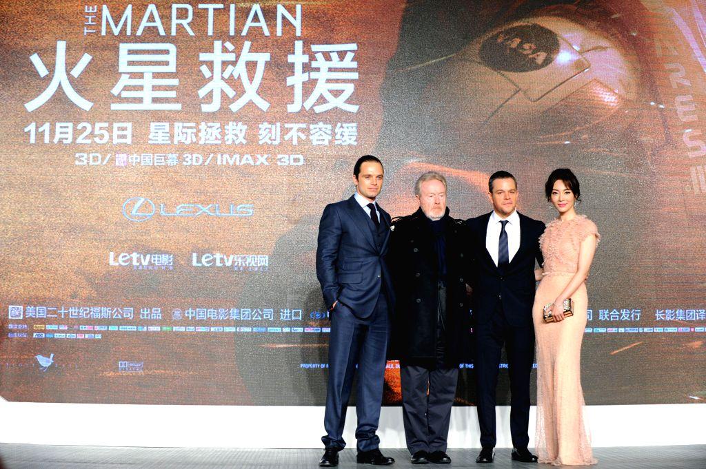 "Actor Sebastian Stan, director Ridley Scott, actor Matt Damon and actress Chen Shu (from L to R) attend the premiere of ""The Martian"" in Beijing, capital ... - Sebastian Stan"