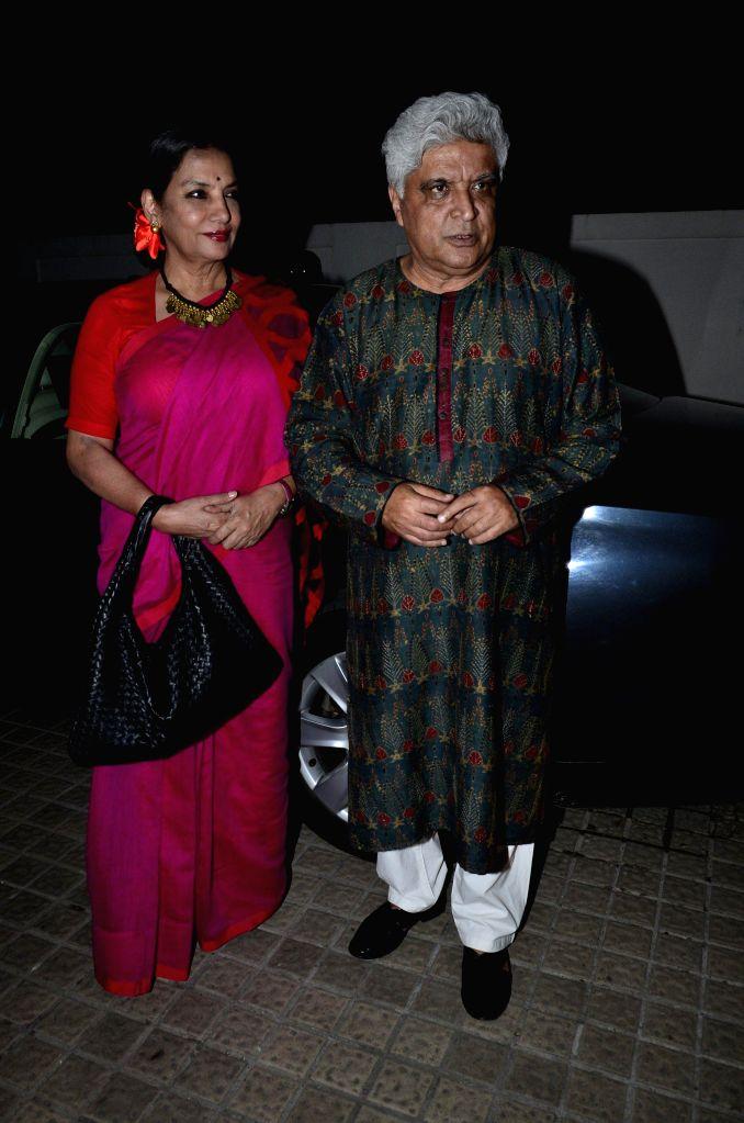 Actor Shabana Azmi and lyricist Javed Akhtar during the screening of the film Katiyabaaz in Mumbai, on Aug. 20, 2014. - Shabana Azmi
