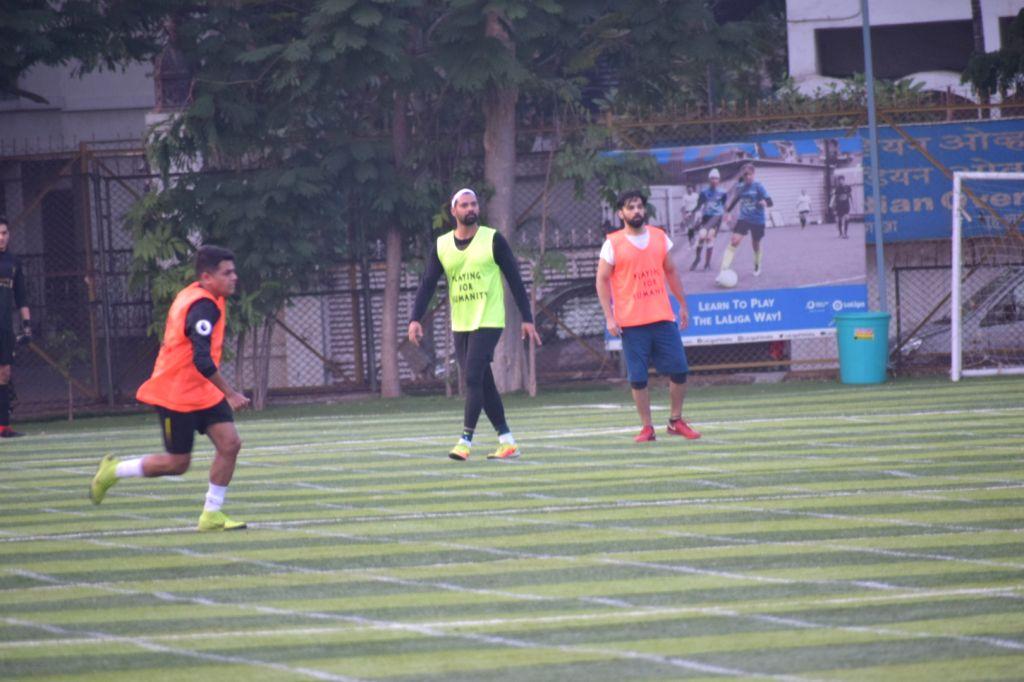 Actor Shabbir Ahluwalia during a football match at Juhu in Mumbai on Feb 5, 2020. - Shabbir Ahluwalia