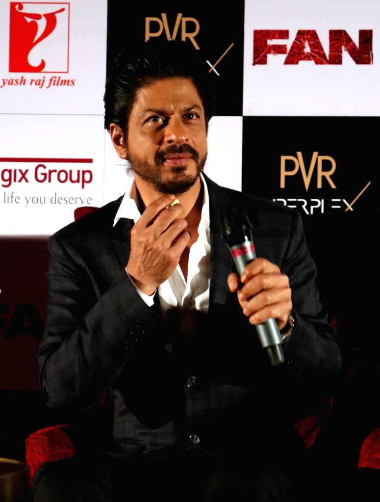 """Actor Shah Rukh Khan during a press conference organised to promote his upcoming film """"Fan"""" in New Delhi, on April 12, 2016. - Shah Rukh Khan"""
