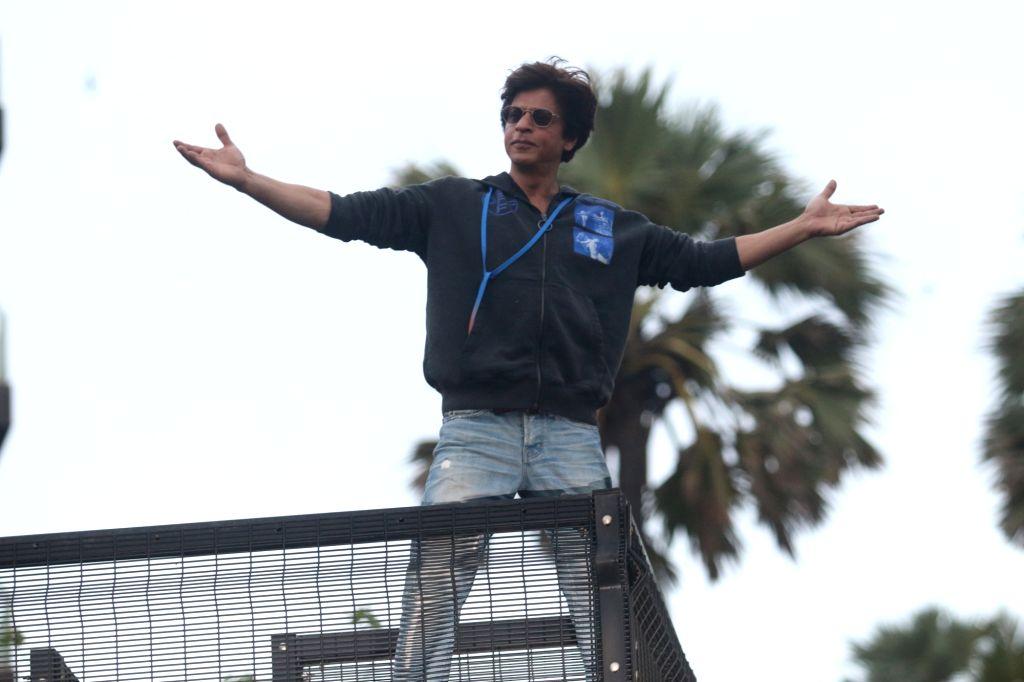 Actor Shah Rukh Khan greets his fans on Eid-ul-Adha in Mumbai on Aug 12, 2019. - Shah Rukh Khan