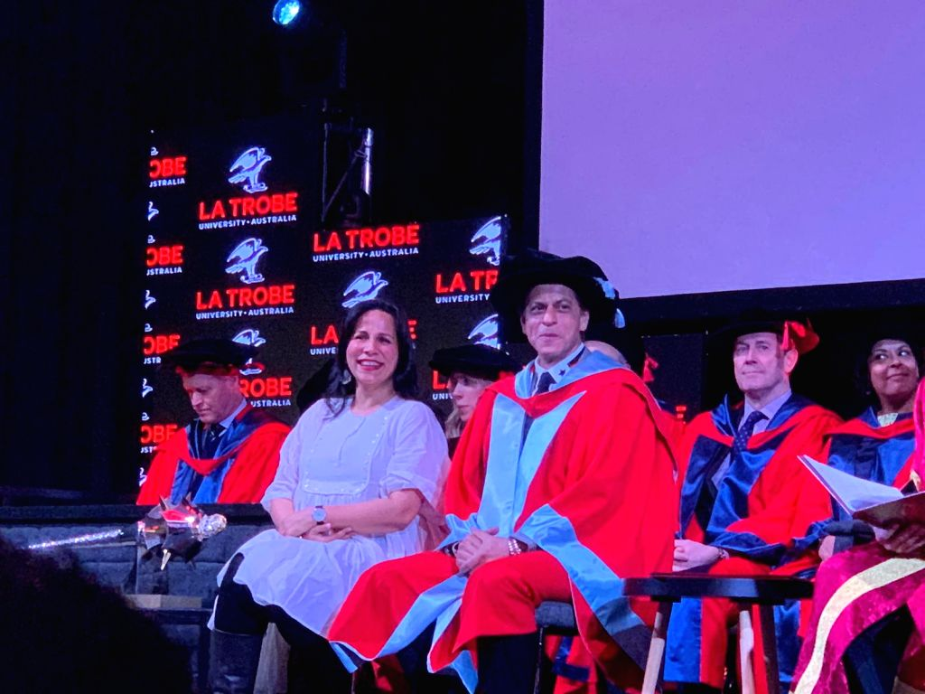 Actor Shah Rukh Khan receives an honorary doctorate degree from La Trobe University for his contributions and efforts towards underprivileged children and women's empowerment through Meer ... - Shah Rukh Khan