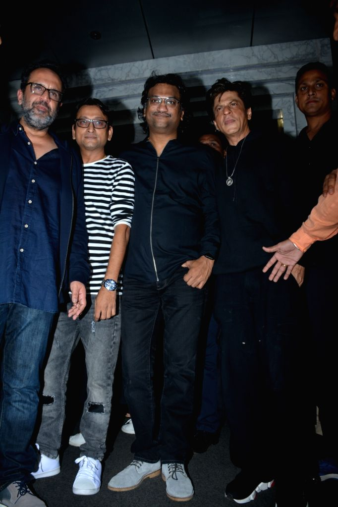 Actor Shah Rukh Khan with director Anand L Rai, and singer Atul during his birthday celebration in Mumbai on Nov 2, 2018. - Shah Rukh Khan and Anand L Rai