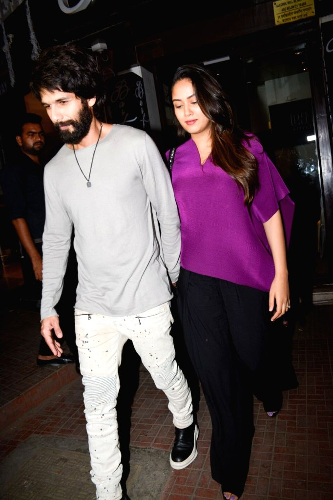 Actor Shahid Kapoor along with wife Mira Rajput at Ishaan Khattar's birthday celebration in Mumbai on Oct 31, 2018. - Shahid Kapoor and Ishaan Khattar