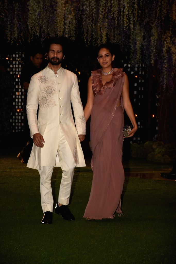 Actor Shahid Kapoor and his wife Mira Rajput at the pre-wedding party of Reliance Industries Chairman Mukesh Ambani's sister Nina Kothari's daughter at Antilia in Mumbai on Nov 10, 2019. - Shahid Kapoor and Mukesh Ambani