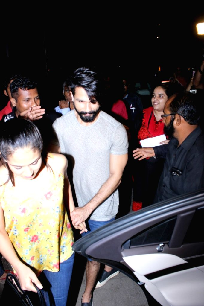 Actor Shahid Kapoor and his Wife spotted at Bastian Restaurant in Mumbai  on June 20, 2017. - Shahid Kapoor