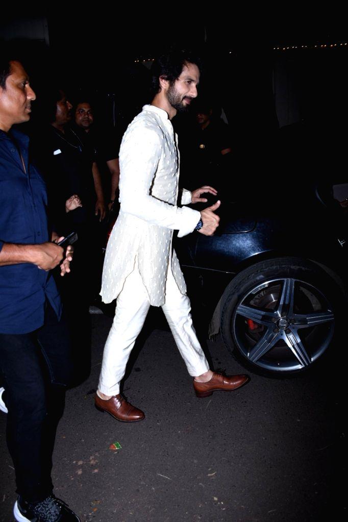 Actor Shahid Kapoor at actor Amitabh Bachchan's Diwali party in Mumbai on Oct 27, 2019. - Shahid Kapoor and Amitabh Bachchan
