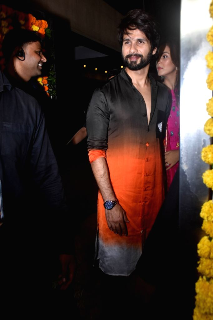 Actor Shahid Kapoor at the Diwali bash party of producer Ekta Kapoor in Mumbai on Oct 26, 2019. - Shahid Kapoor and Ekta Kapoor