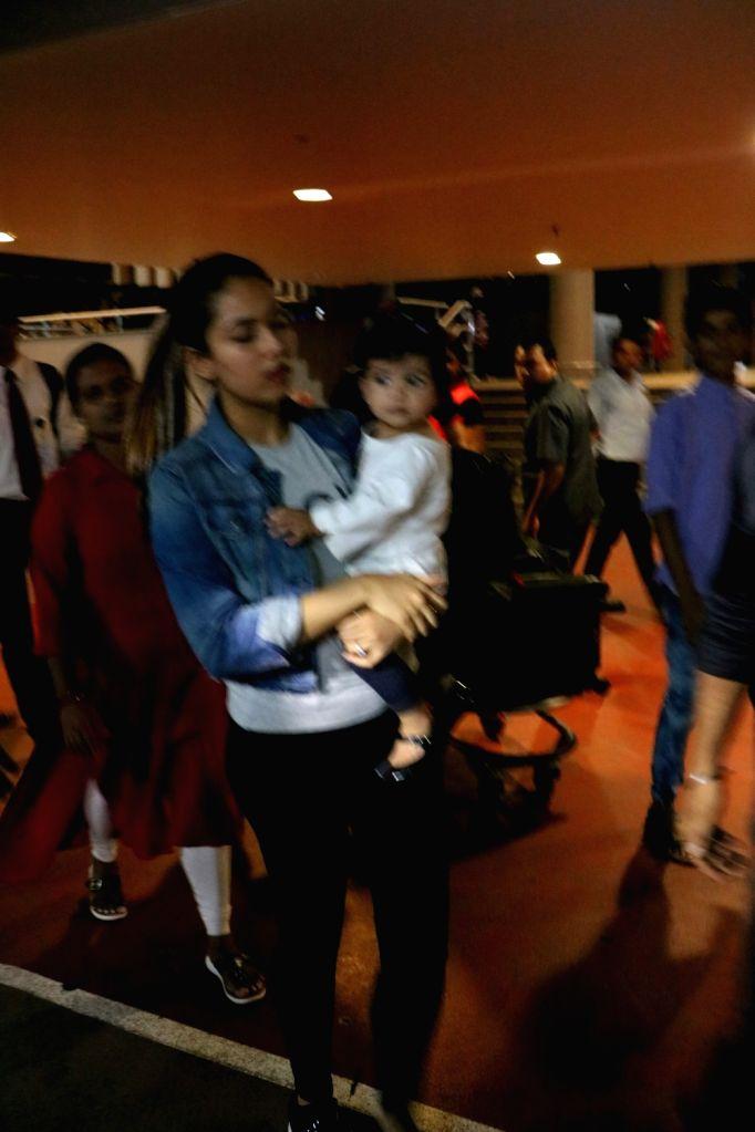 Actor Shahid Kapoor's wife Mira Rajput and their daughter Misha spotted at the Chhatrapati Shivaji International Airport in Mumbai, on July 25, 2017. - Shahid Kapoor
