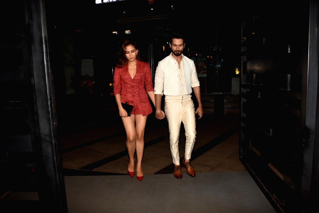 Actor Shahid Kapoor seen with his wife Mira Rajput in Mumbai on Aug 24, 2019. - Shahid Kapoor