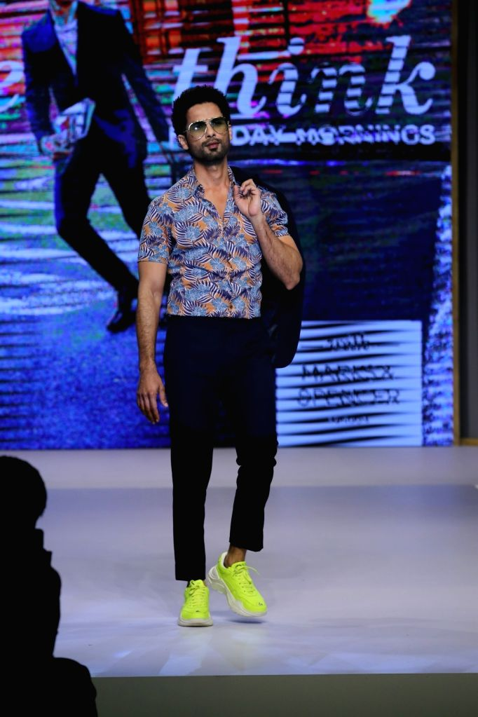 Actor Shahid Kapoor walks the ramp at the launch of the spring-summer collection of Marks and Spencer, in Mumbai on Feb 7, 2019. - Shahid Kapoor