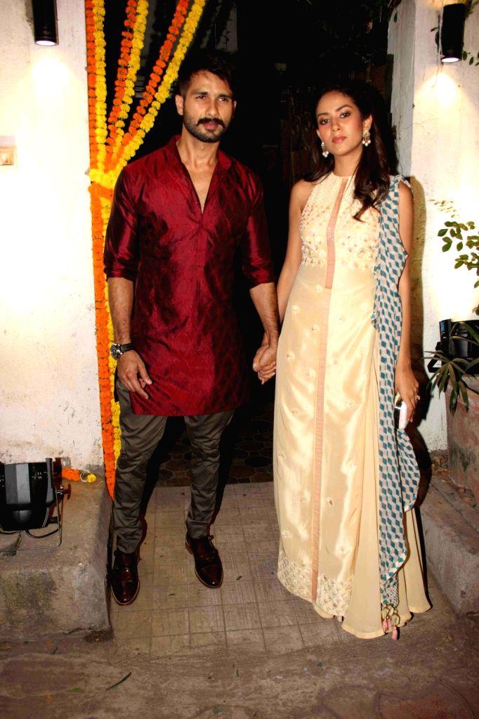 Actor Shahid Kapur with wife Mira Rajput during the Fashion designer Masaba Gupta sangeet ceremony in Mumbai on November 21, 2015. - Shahid Kapur