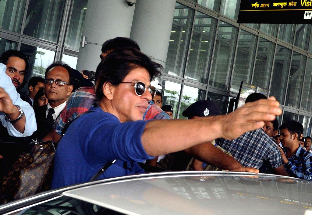 Actor Shahrukh Khan arriving at NSC Bose airport in Kolkata on Aug 9 2014.
