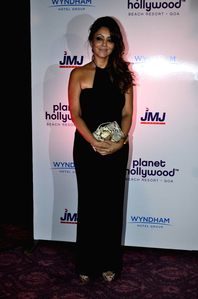 Actor Shahrukh Khan's wife Gauri Khan during the signing ceremony between JWJ group and Planet Hollywood Hotel in Mumbai on Oct. 9, 2014. - Shahrukh Khan