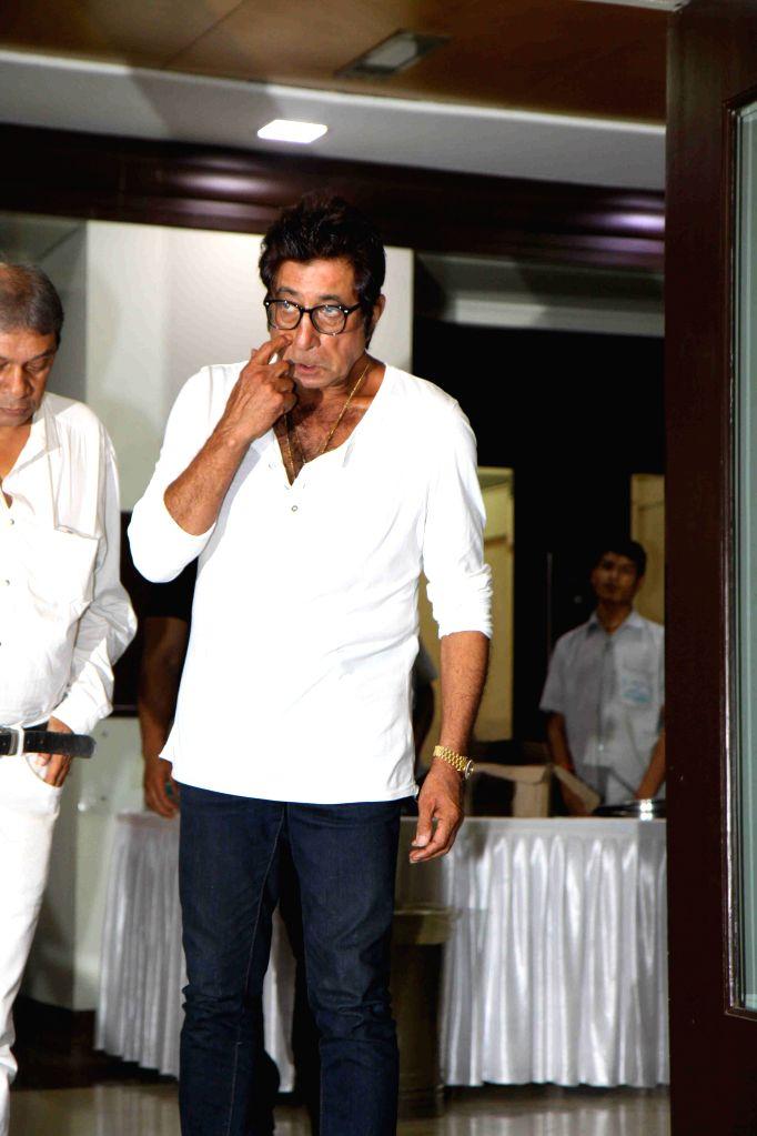 Actor Shakti Kapoor during the prayer meet of Pandit Pandharinath Kolhapure, in Mumbai, on Aug 18, 2015. Pandit Pandharinath, who expired on August 15, 2015, is the father of actor Shraddha ... - Shakti Kapoor, Shraddha Kapoor and Shivangi Kapoor