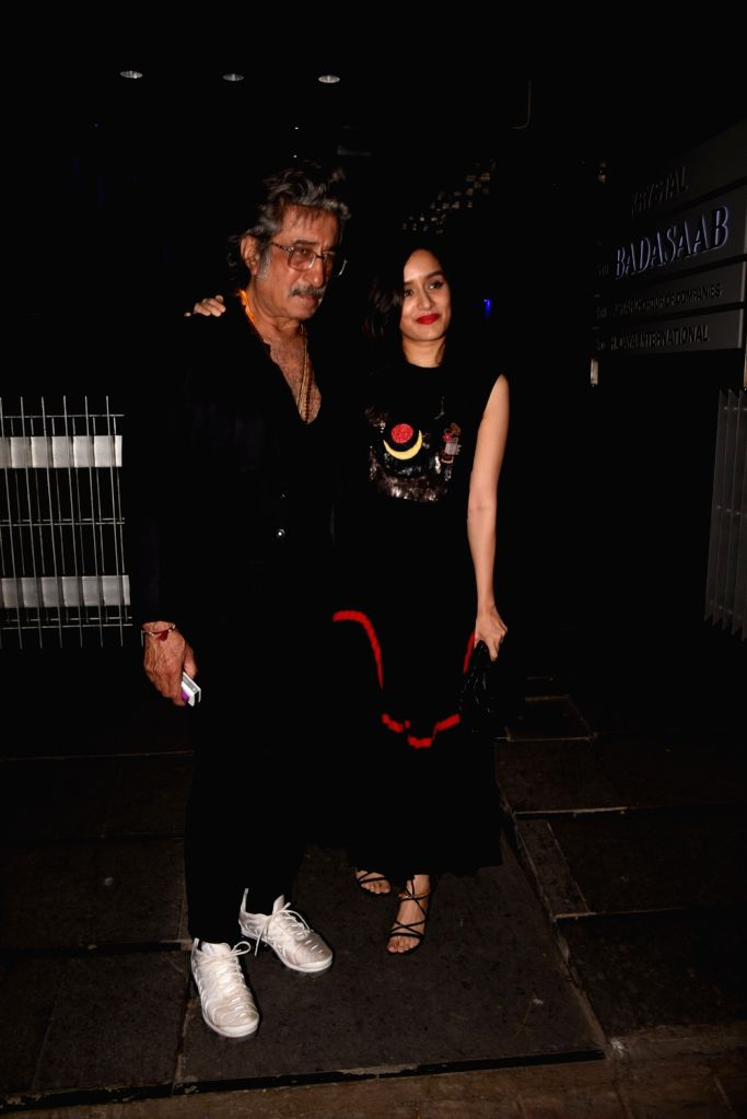 Actor Shakti Kapoor pose with daughter Shraddha Kapoor during actress Padmini Kohlapure's birthday bash in Mumbai on Oct 31, 2018. - Shakti Kapoor and Shraddha Kapoor